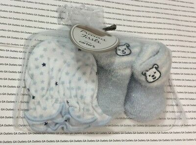 Carters Newborn Baby Precious First Mittens & Booties Gift Set Socks Blue Stars