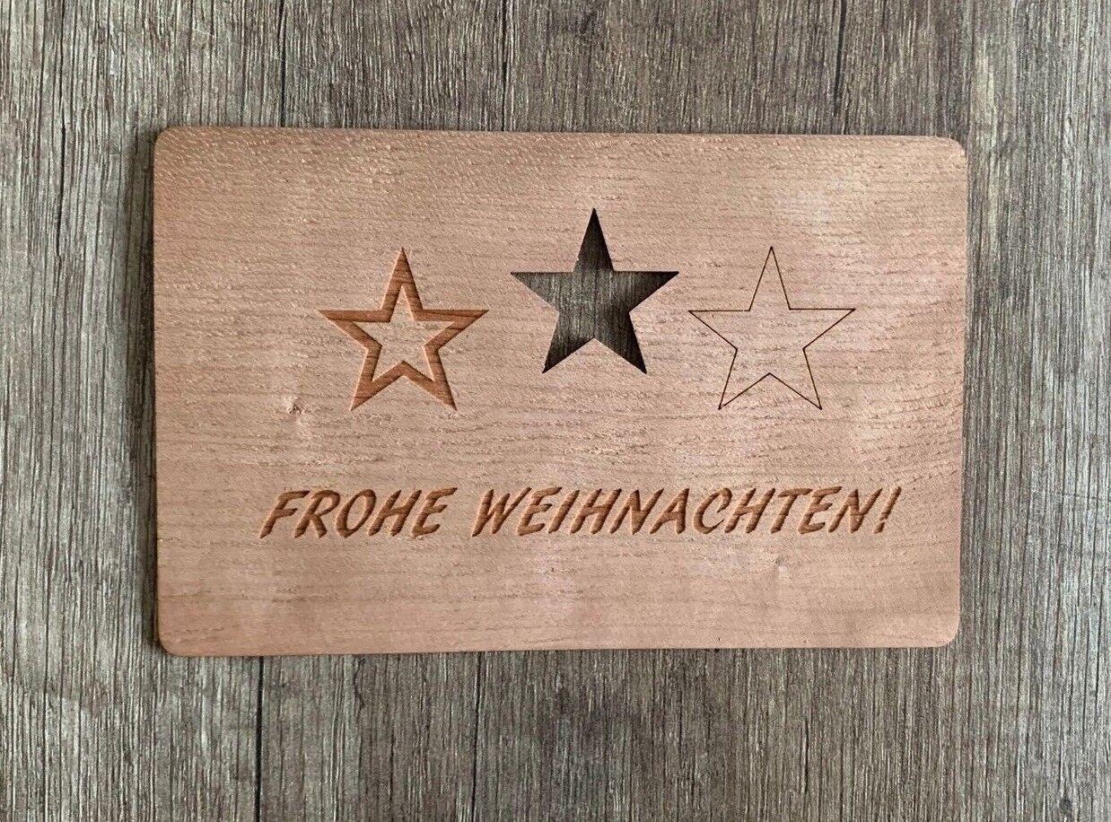 GrußKarte aus Holz Geschenk Karte Weihnachtskarte X Mas Frohe Weihnachten Sterne