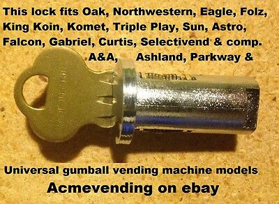 New LOCK & KEY KING KOIN or KOMET GUMBALL CANDY NUT VENDING MACHINE Coin Comet