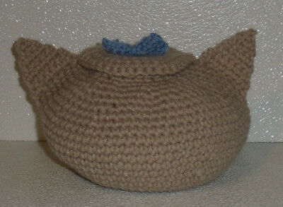 """Crochet Candy Dish Bowl Trinket Hand Made in USA Gray Cat 5"""" By 6.5"""""""