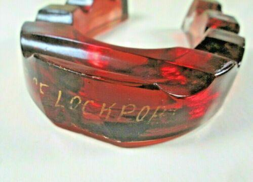Ruby Flash Stain Horseshoe Pen Rest Holder, Lockport NY - Unusual Souvenir Glass