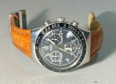NICE SWATCH IRONY WINDFALL AVIATOR 40MM LEATHER BAND SWISS QUARTZ WATCH