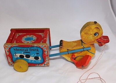 Vintage Fisher Price 50's Musical Duck Pull Toy #795 Musical Works