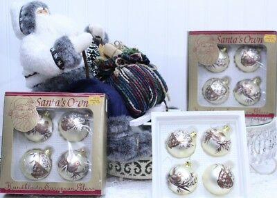 Ornaments In Bulk (Christmas Mouth Blown Glass 2 Bird Orn. & 2 Nest Orn. Made in Europe 12)