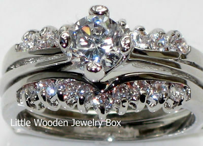 White Gold Sterling Silver Round cut Diamond Engagement Ring Wedding Set Women's (Womens Diamond Wedding Ring Sets)