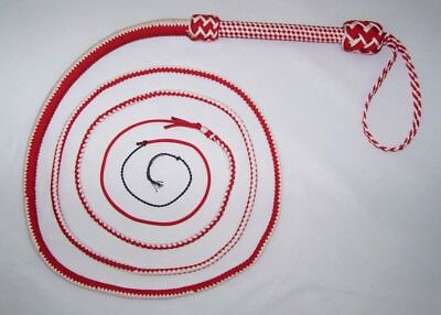 10Foot 16 Plait Red & White NYLON Well-weighted  SHOT LOADED Real Bullwhip whip