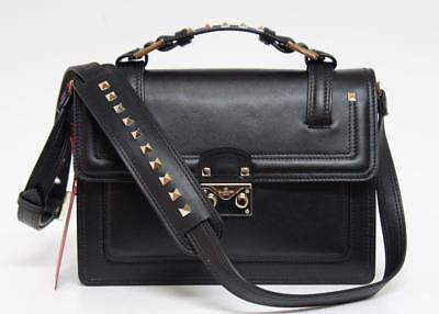 New Valentino $2950 Block Lock Single Handle Vitello Rockstud Black Leather Bag