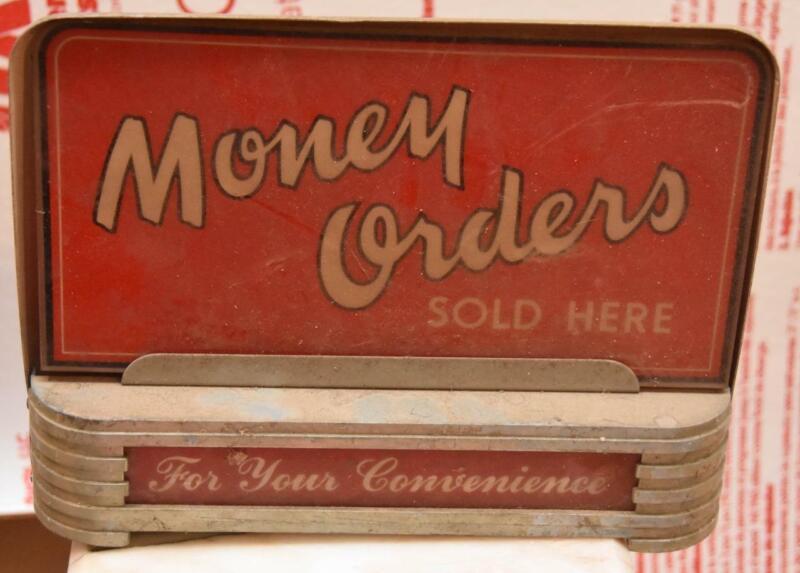 Vintage Money Order Sign Glass Old Lights Up