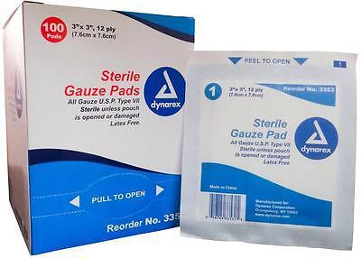 "GAUZE PAD STERILE SPONGES 3"" x 3"" 12-PLY (100/BOX) 6 BOXES BY DYNAREX - MS42130"
