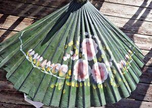 Antique Canvas Umbrella Bamboo Parasol  Wood Hand Painted Artisan green flower