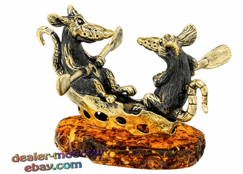 Bronze Solid Brass Baltic Amber Humor Figurine Happy Rats in Cheese Boat