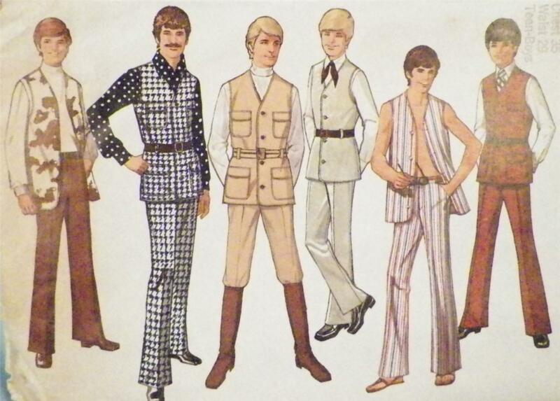 Teen Boys Vest & Pants Sewing Pattern Size 18 1970 Vintage Disco Era Chest 35 in