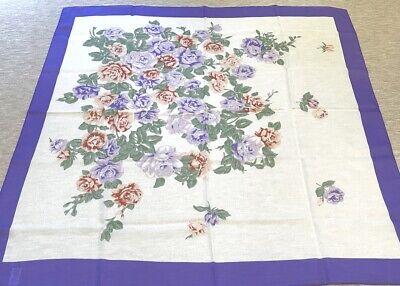Vintage MCM Italian Handkerchief Scarf Purple Peach Roses Floral Glentex
