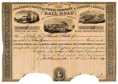 1834 Delaware & Raritan & Camden & Amboy Canal Railroad Stock Robert L. Stevens