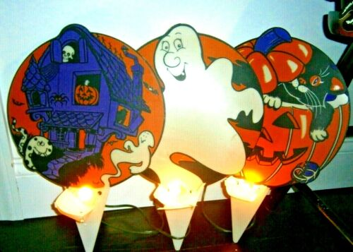 Vtg Halloween Rare HTF 3 PLASTIC lamp light ghost moon black cat haunted house