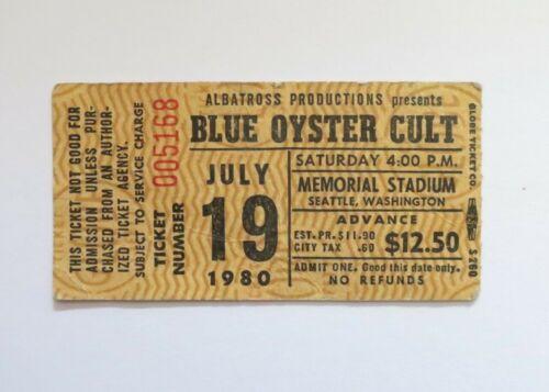 Original Blue Oyster Cult July 19 1980 Memorial Stadium Seattle Ticket Stub.