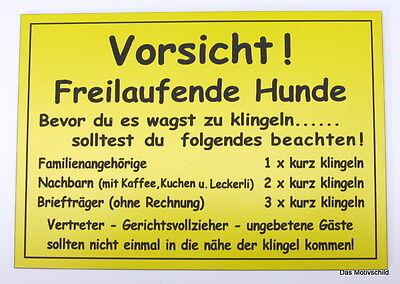 Vorsicht Freilaufende Hunde,Gravurschild,12 x 8 cm,Wetterfest,Hund,Schild,Fun