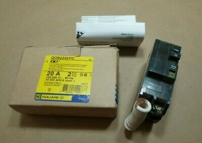New Qob220epd Square D Circuit Breaker 20 Amp - 2 Pole - Ground Fault Protection