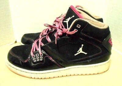 Girl's Nike AIR JORDAN Flight 23 Black Pink Mid Top Basketball Shoe Size 6.5Y -