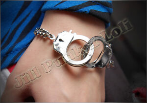 Punk-Kera-street-visual-chic-CSI-crime-scene-handcuff-Chain-Lock-bracelet