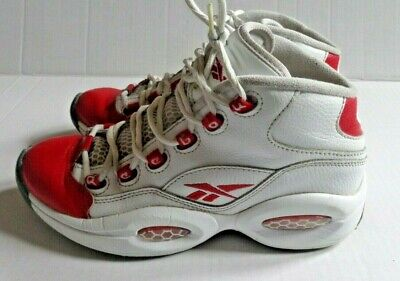 REEBOK Question Mids Basketball Shoe Youth Size 5.5 White Red Q School Popular -