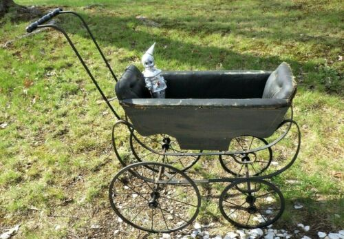 Antique Victorian Doll Baby Carriage Buggy Stroller Black Wood/ Leather/ Metal