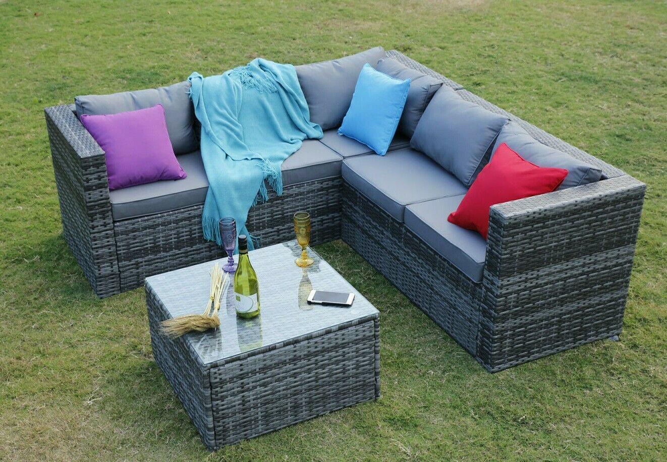 Garden Furniture - Outdoor Rattan Garden Furniture 5 Seater Corner Sofa Patio Set with Cover Option