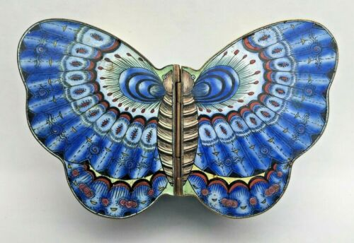 Vintage Butterfly Shaped Canton Enamel Box Late 19th-Early 20th Century China