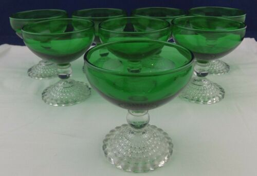 Vintage Anchor Hocking Forest Green 6oz. Sherbet/Clear Bubble Base/Set of 8/Rare