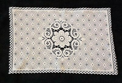 Vintage Lacy Rectangle White Placemat Table Linen Doily, used for sale  Miamisburg