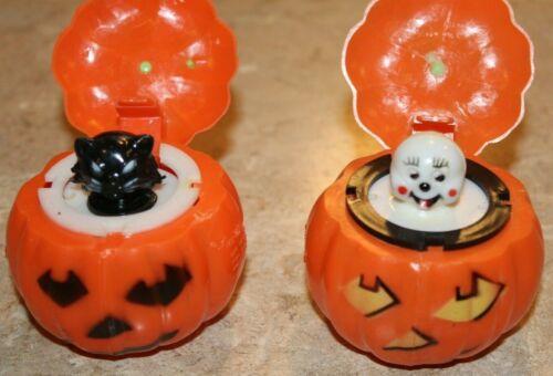 2 Vintage Halloween Squeak Toys Fun World 1960s Plastic Pumpkin Ghost Witch