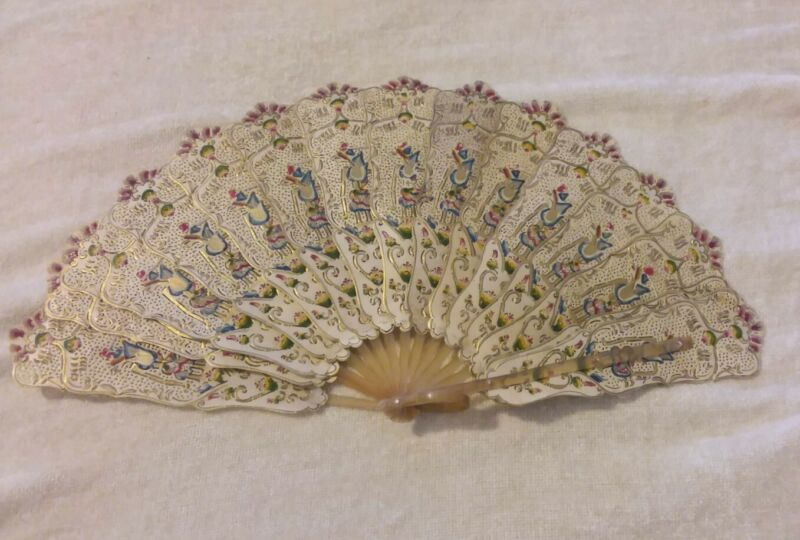 Vintage Vellum FAN Handpainted with Gold Accents from Java Indonesia Artwork 🦎