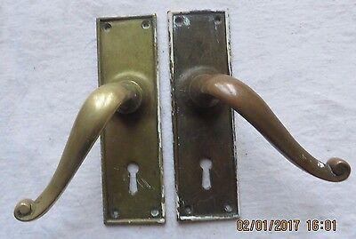 Door handles, brass, 1 pair, vintage/antique