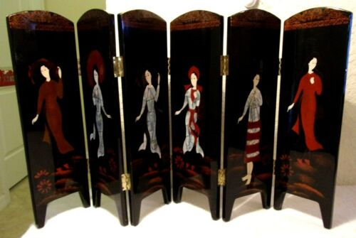 Exceptional Antique Marquetry Inlaid Japanese Geisha Girl Wooden Partition Panel