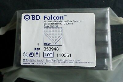 5 Bd Falcon 96-well Ps Microtest Optilux Tc Assay Microplate W Lid 353948