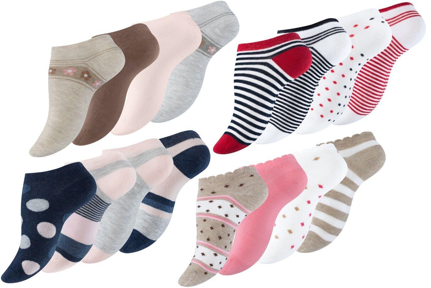 8 Paar Bunte Damen Sneaker Socken Füßlinge Ringel Punkte Maritim Kurzsocken