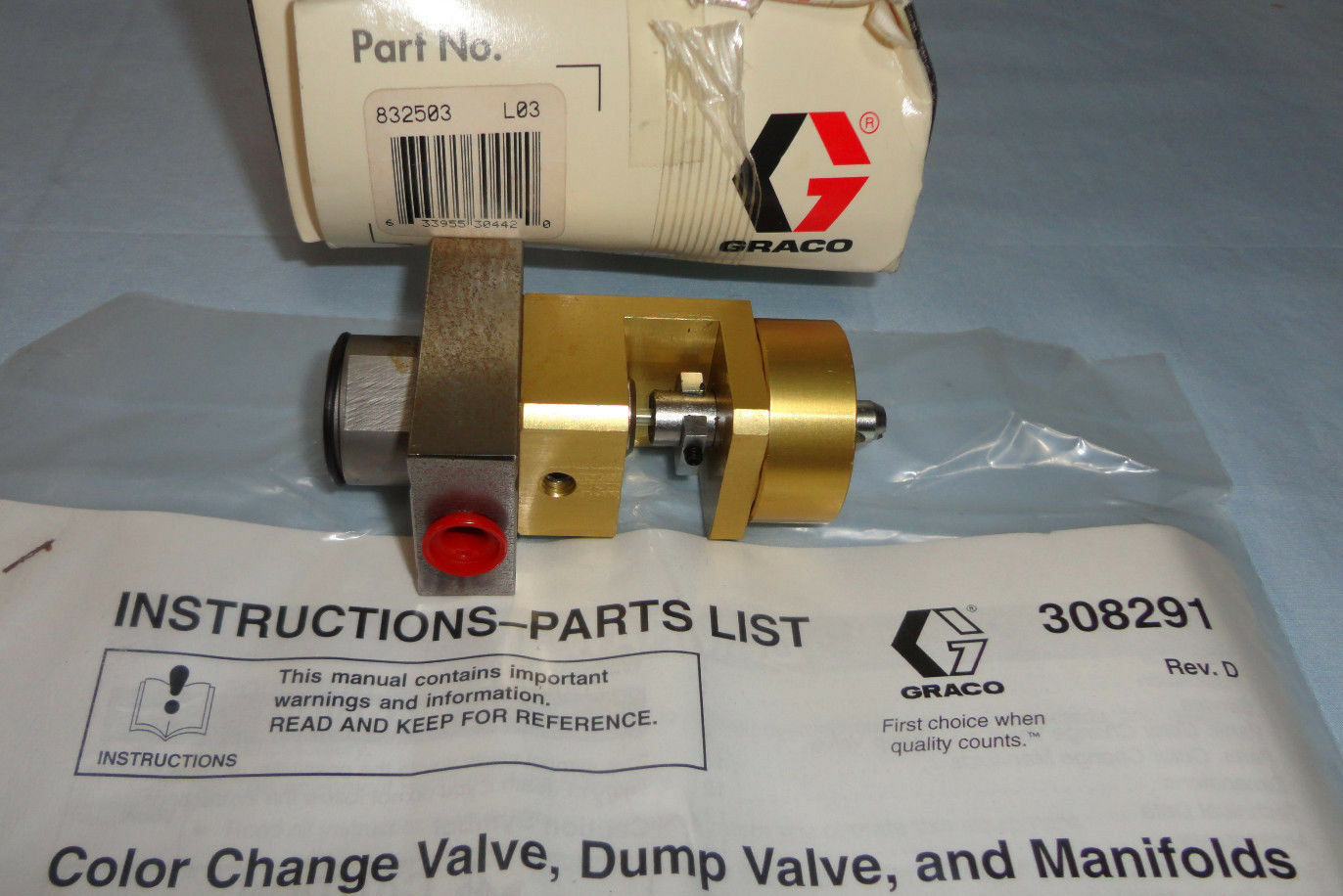 Genuine Graco 832503 High Pressure Color Change Valve For Paint