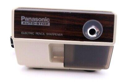Vintage Panasonic Electric Pencil Sharpener Kp-110 Auto Stop Faux Wood Ac Plug