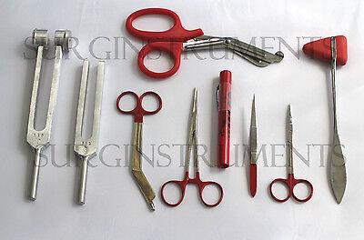9 Piece Red Medical Kit - Diagnostic Emt Nursing Surgical Ems Student Paramedic