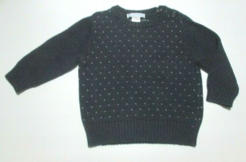 BOYS JANIE AND JACK PLUM PERFECT NAVY BLUE WOOL PULLOVER SWEATER SIZE 12-18 M