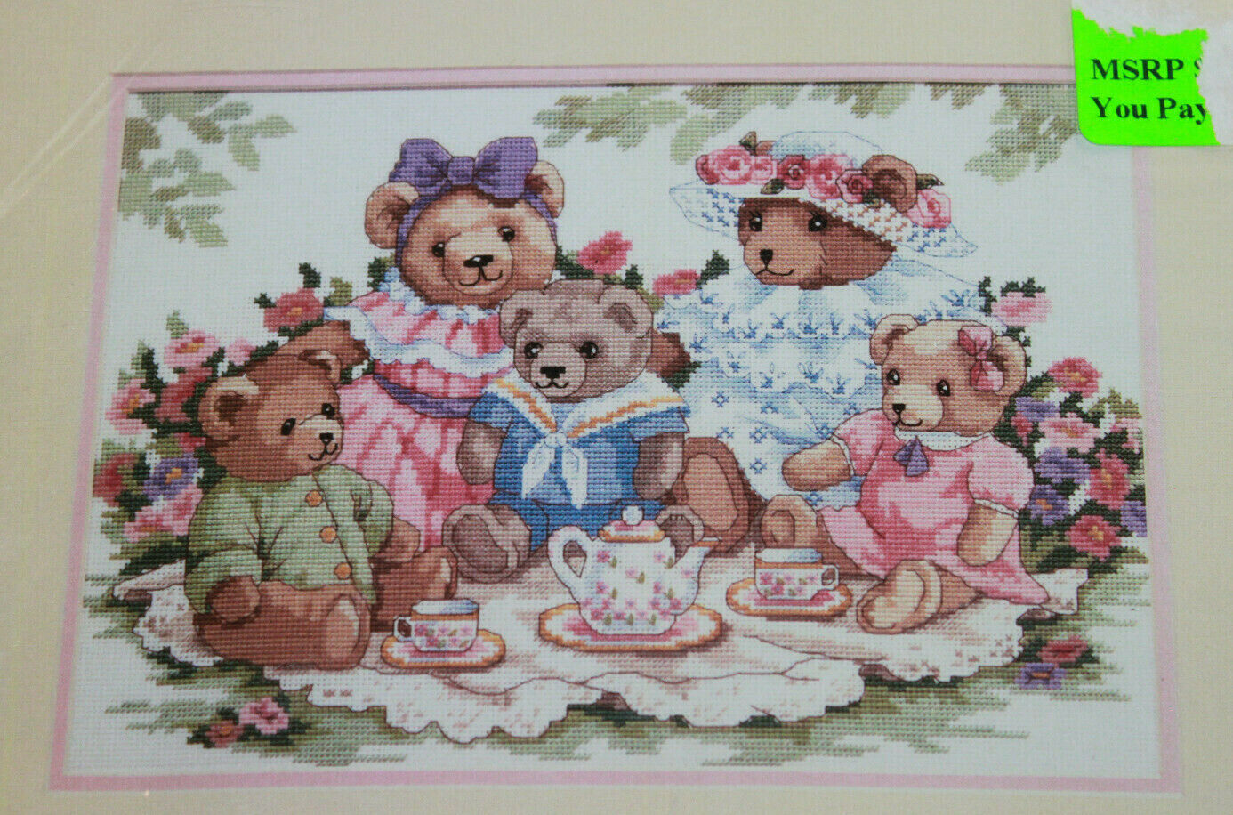 Victorian TEDDY BEAR TEA PARTY Picnic Dimensions Counted Cro
