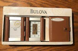 Bulova Leather Desk Clock Folding Picture Frame Wallet Gift Set Brown