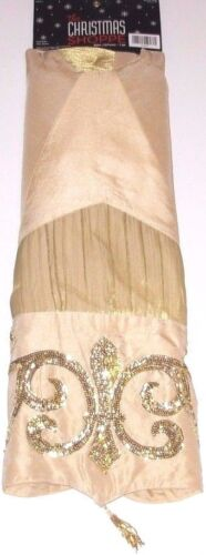 Christmas Tree Skirt 50 inches The Christmas Shoppe Light Gold w/Gold, NWT