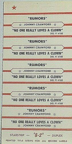 "JUKEBOX TITLE STRIP SHEET - JOHNNY CRAWFORD ""Rumors"" Del-Fi 4188"