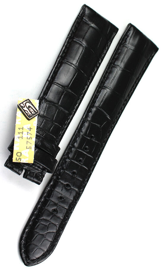 22mm XL Original Chronoswiss Alligator Watch Strap Uhrenarmband Band black 22/18