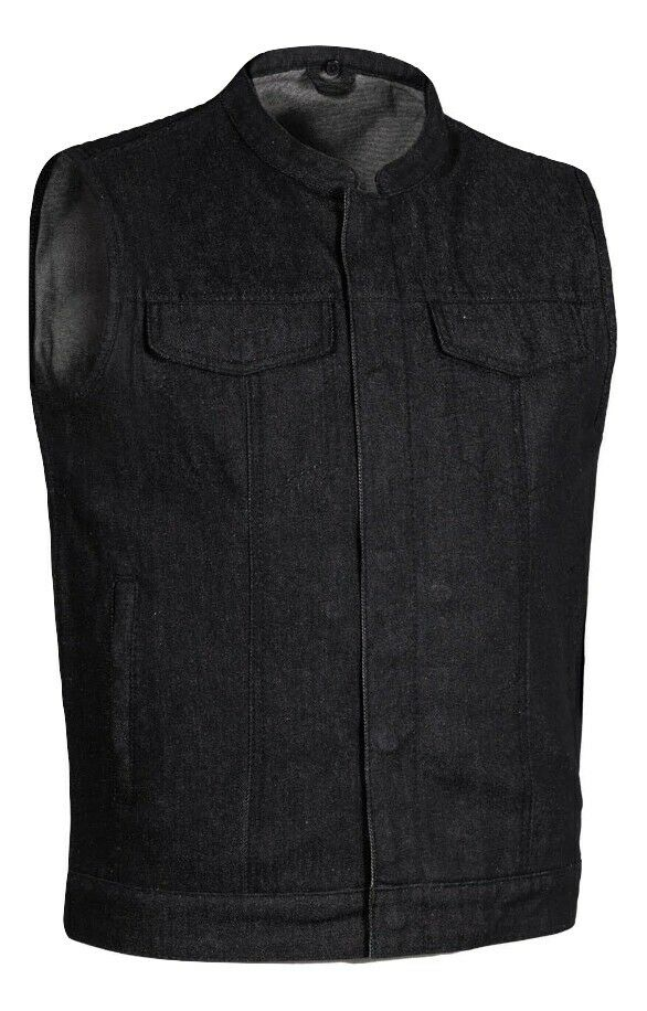 Men's Motorcycle Biker Black Denim SOA Club Style Vest