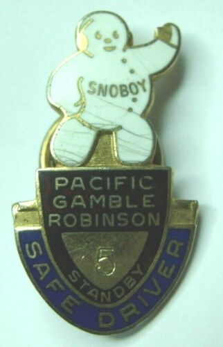 Vintage 40s Pacific Gamble Robinson Co 5 Year Safe Driver Enameled Pin - Snoboy