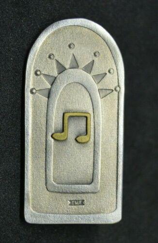 Vintage Trevor Forrester pewter modernist music pin brooch