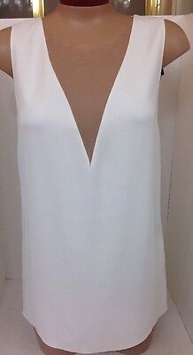 Lanvin Top White Sleeveless Beige Silk V NWT$1305 2015 Size 36