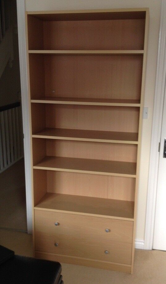 Pine bookcase with draws